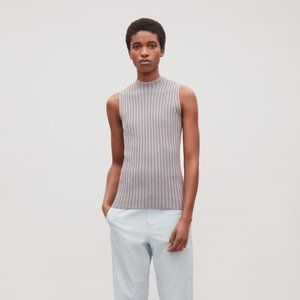 COS Ribbed Sleeveless Mock Neck Knit Sweater  NWOT